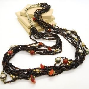 Vintage Brown Amber Glass Carnelian Bead Necklace